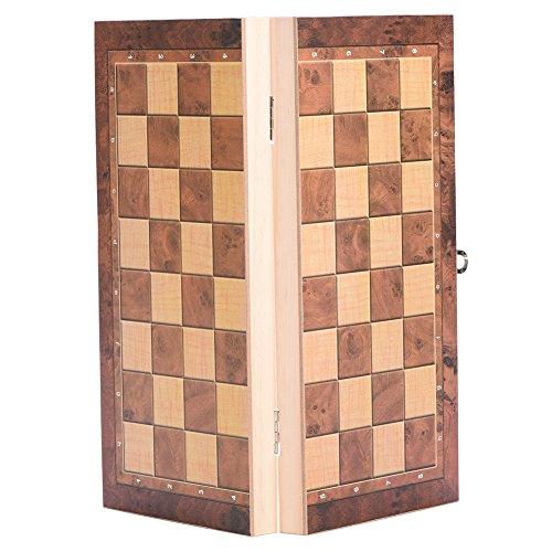 vgeby 3in 1Folding Holz Schach Set, Universal Standard Holz Schach, mit klappbar Board und exquisite Schachfiguren, 34*34cm - Standard-traditionellen Holz