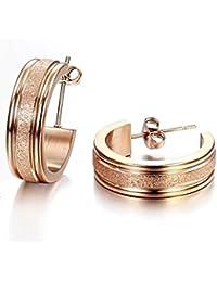 Stayoung Jewellery Moda Simple 6mm Forma de Anillos Pulidos Acero Inoxidable Pendientes Aretes para Mujer, 2 Opciones de Color