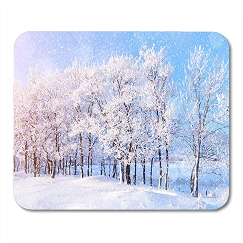 AOCCK Gaming Mauspads, Mouse Pad Winter Landscape with Falling Snow Wonderland Forest with Snowfall and Sunlight 11.8
