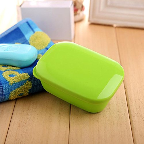 Boîte portative de savon de rectangle avec la couche de drain et le plat de savon élégant de couvercle pour l'école de voyage