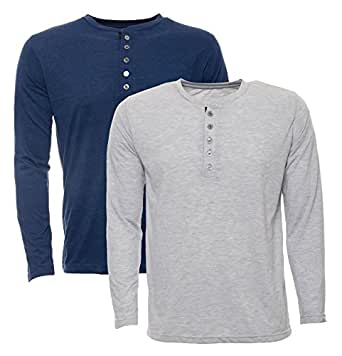 Aarbee Men's Cotton T-Shirt - Combo of 2 (Aarbee-Full Sleeve-Blue-Grey--S, Grey and Blue, Small)