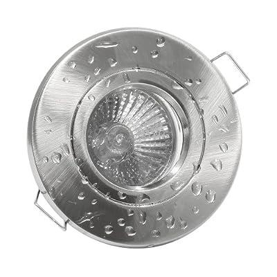 Runder Badezimmer Feuchtraum Einbaustrahler Side Edelstahl Geb Optik - 12v Niedervolt - Mr16 Halogen - 20watt - 1er Set von Licht- und Leuchttechnik