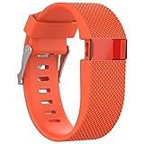 BlueBeach Adjustable Fitbit Charge HR Reemplazo Correa de Reloj Banda de Silicona Pulsera (Naranja)