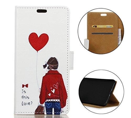 Cover Per iPhone X, Sunrive Custodia con supporto di stand e in pelle artificiale per carte di credito Portafoglio Flip Chiusura Magnetica Protettiva(W 1 busta) W Girl 1