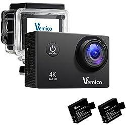 Vemico Cámara Deportiva 4K con WIFI de 1080p Video y 16MP Imagen leva Dos Baterías 2.0 Pulgada de la Pantalla con Impermeable Casco de Deportes