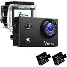 Vemico 4K Action Camera 16MP WIFI schermo da 2.0 pollici impermeabile di sport del casco Cam con Extra 1050 mAh della batteria