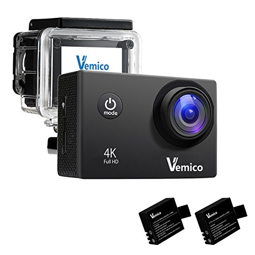 Camera Sport 4K, Vemico Caméra d'Action WiFi Action Cam Full HD 16MP...