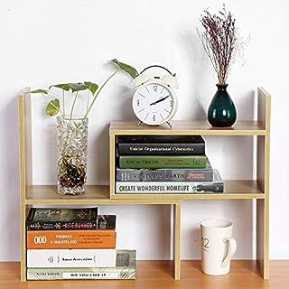 Zerone DIY Desktop Storage Rack Organizer, DIY Book Shelf Storage Rack Table Desktop Display Shelf, Cosmetic Storage Rack Holder, 46.4~85.5cm * 17cm * 46.4cm (Wood)