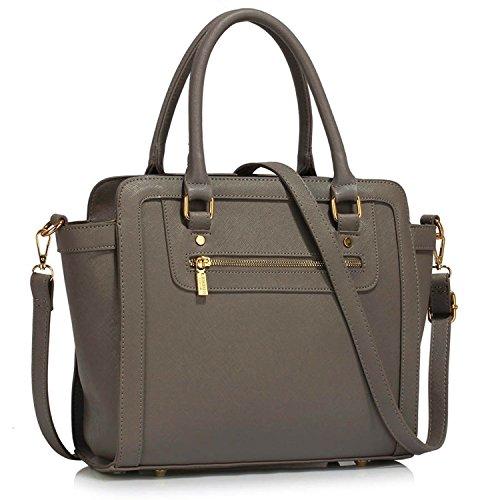 xardi London Monochrome Multi Donna in Pelle Sintetica Borse A Spalla Grab Bags Grey Style 1