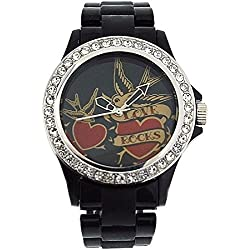 Pink Cookie Ladies-Girls Black Dial & Black Plastic Strap Watch PCL-0025