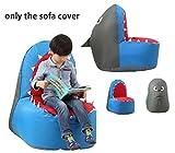 Quwei Children Cartoon Shark Leisure Creative Comfortable Chair Backseat Bean Bags Sofa Sets (cover of sofa, Blue)