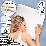 Jago Anatomisches Kissen aus Memory Schaum | L/B/H: 60/60/10 cm, geeignet für Allergiker | Kopfkissen mit Schaumstoffkern, Nackenstützkissen