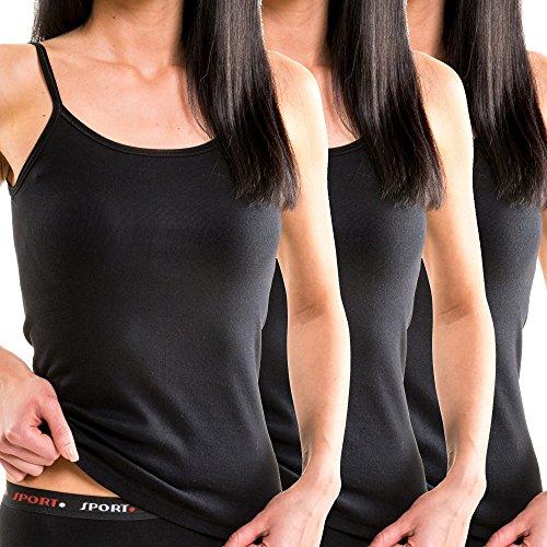 HERMKO 1560 3er Pack Damen Träger Top aus 100% Baumwolle, Farbe:schwarz, Größe:40/42 (M)