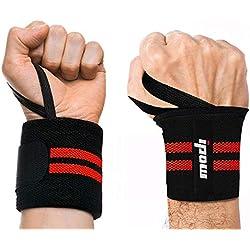 ipow [2 Pcs] Protège-Poignet Sport Bracelet Main-Poignet Ceinture Protecteur pour Gymnastique culturiste/Musculation/Aérobic/Sports/Body-Building, Rouge et Noir