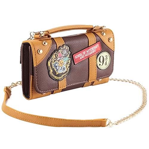 Tasche Harry Potter Hogwarts Hybrid Handtasche und Geldbörse mit Kette 18, 5x11x4,5cm braun Damen-Schultertaschen Mini Kurze Handtasche (Geldbörse Harry Potter)