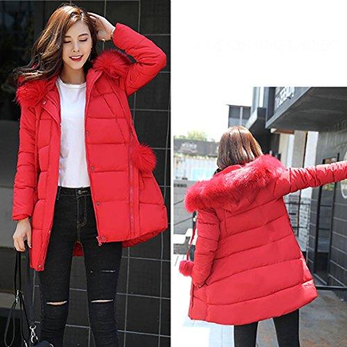 Keepwin Femme Mignon à manches longues Zipper Down Jacket Manteau de fourrure Hat Hoodie avec poche et bouton Rouge