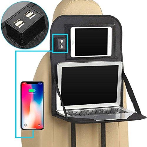 AOLVO Rücksitz Organizer Displayschutzfolie mit Faltbar Tisch Tablett, Auto Auto Back Seat Organizer Laptop-Halter mit 4USB-Port, Esstisch Halter Tasche für iPad Kindle Tablet, Baby Kid Spielzeug (Rücksitz Laptophalter)
