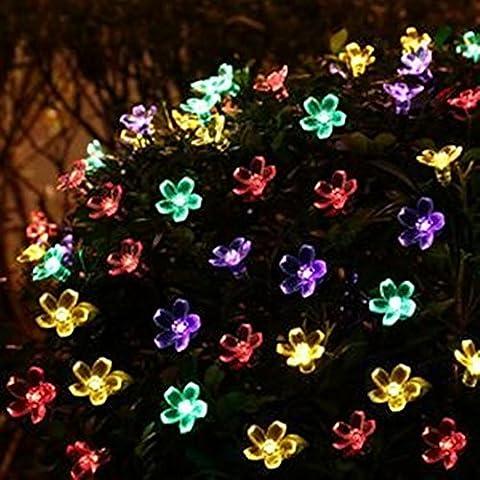 5M 50 LED String Light Sakura Blume Add Romantische Atmosphäre Perfekte Dekoration für Patio, Rasen, Zaun, Haus, außerhalb, Einkaufszentrum, Urlaub & Festival Feier IP44 Wasserdicht (Batteriebetriebene Globe-leuchten)