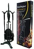 Blackspur BB-FS309 4 Piezas Juego de Utensilios para Chimenea, Negro