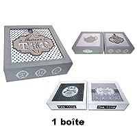 REVIMPORT - Boîte à thé 9 cases bois laqué 24x24 cm décoré *