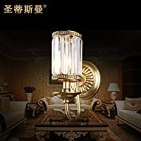BBSLT Testa di K9 cristallo parete lampada stile salotto sala da pranzo muro rame finisce tre club davanti allo specchio lampada da parete 160 * 320mm