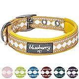 Blueberry Pet Halsbänder für Hunde 2cm M 3M Reflektierendes Hundehalsband in Ei-Gelb mit Jacquardmuster