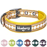 "Blueberry Pet Collars for Dogs, Neck 17-20.5"", Large, Classic Solid Neoprene Padded Dog Collar in Black with Jacquard Pattern, Matching Leash & Harness Available Separately 8"