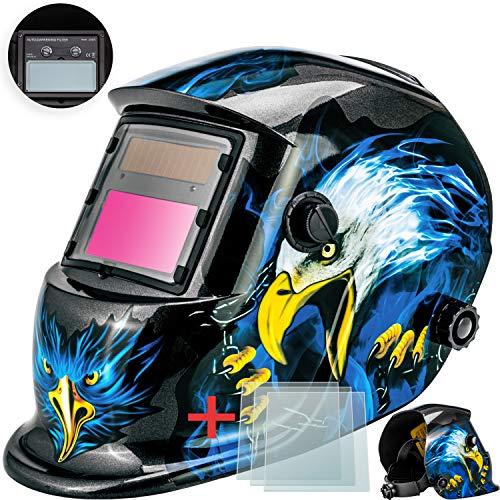 Masko® Automatik Schweißhelm + 3x Ersatzgläser | großes Sichtfeld | für alle gängigen Schweißtechniken - Schweißmaske Schweißschirm Solar Schweißschild Schutzhelm | gegen Funken, Strahlungen | Water