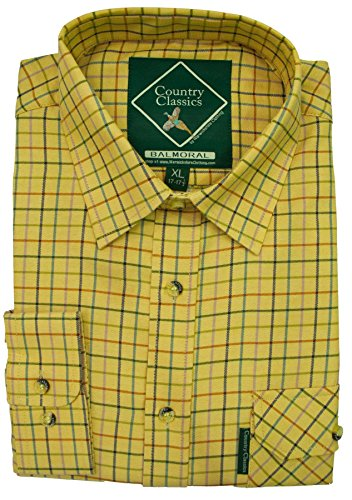 Country Classics Mens Country Check Shirt-Heavy Weight-Quality-Easy Care, Balmoral-Mustard -