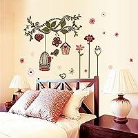 soxid (TM) fiori Cartoon Gabbia per uccelli Vine DIY Sticke da parete adesivi decalcomanie Art Decor carta da parati per cameretta bambini