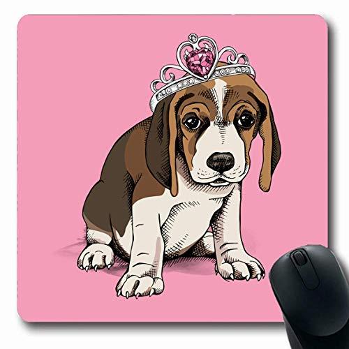 Luancrop Mousepad Oblong Brown Entzückender Welpen-Spürhund-Prinzessin Crown On Prince Dog Pink Face Nettes Haustier-Entwurfs-Kostüm-Büro-Computer-Laptop-Notizbuch-Mausunterlage, Rutschfester - Dog Prince Kostüm