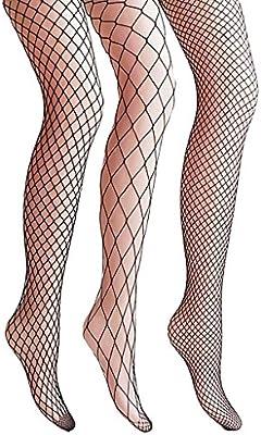 Surenow 3 Pares Calcetines Medias de Rejilla de Red de Malla de Pesca para Mujer Fishnet Tights Talla única