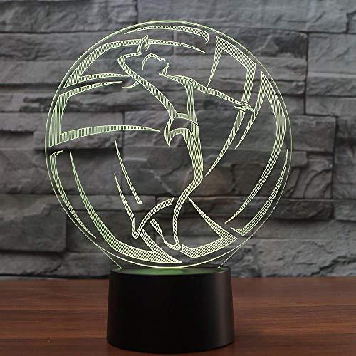WEREWTR USB 3D Lampe Volleyball 7 Farbwechsel Kleine 3D Nachtlicht LED Schreibtischlampe Atmosphäre Lampe Für Wohnkultur Kinder Spielzeug Geschenk M240 Usb