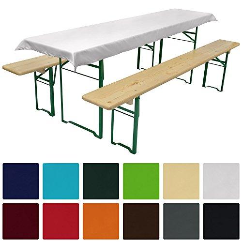 Beautissu Tischdecke für Bierzeltgarnitur - 90x240 cm (für Tischbreite 70 cm) in Weiß -...