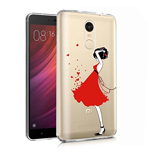 ocketcase Xiaomi Redmi Note 4 Funda, TPU Carcasa Suave Silicona Flexible Gel Funda Resistente a los Arañazos Tapa Protectora Case Cover para Xiaomi Redmi Note 4 (Chica de Rojo) + Gratis lápiz óptico