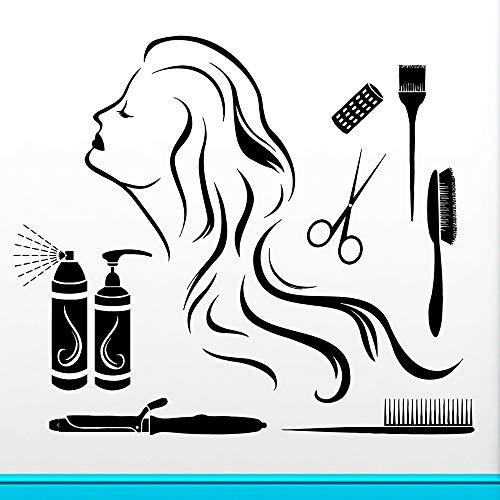 Bfmbch adesivi murali capelli freddi salone di bellezza parrucchiere spa negozio decorazione vinile bagno casa soggiorno adesivi murali decorativi a2 57x65cm