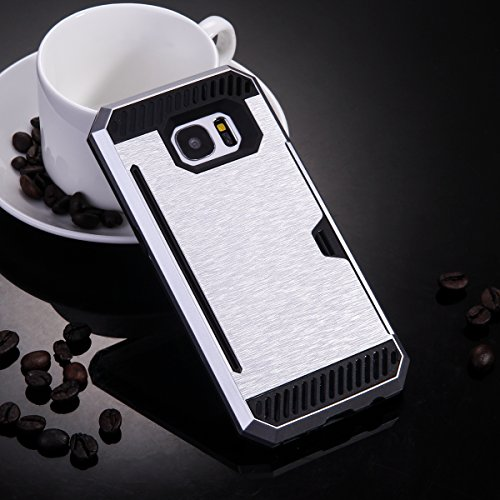 """Skitic Card Holder Slot Coque pour iPhone 6 / 6S 4.7"""", Luxe Dual Layer Heavy Duty Armor Hybrid Rugged Dur PC Defender Soft TPU Bumper Antichoc Protección Couverture Back Cover Coquille Arrière Protect Argent"""
