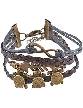 Souarts Braun Armband Unendlichkeit Fisch Schildkröte Handmade Lederarmband