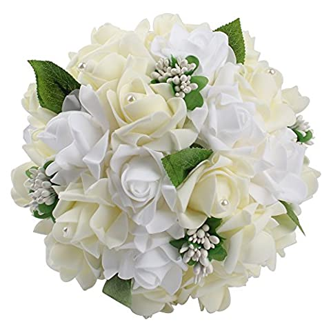 Beautiful Wedding Bouquets in Your Heart, AerWo Modern Style White Lace Pearls Bride Bridemaid Wedding Bouquet Artificial Silk Flower Ivory