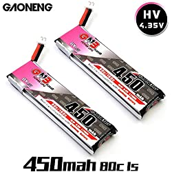GNB 2pcs 450mAh 1S HV 3.8V 4.35V LiPo Battery 80C JST-PH 2.0 PowerWhoop mCPX Connector for Inductrix FPV Plus Kingkong Tiny 7 Beta75S Micro FPV Racing Drone etc
