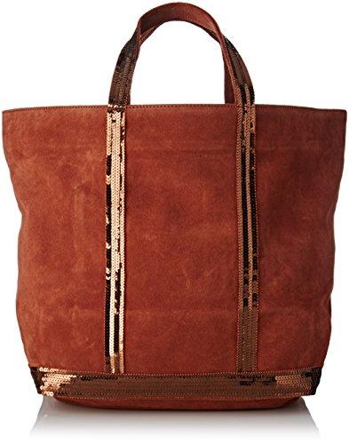 Vanessa Bruno Damen Cabas Medium + Cuir Velour Et Paillettes Tote, Rot (Roux), 18x34x50 centimeters (Tote Medium Handtasche Bag)