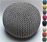 Millhouse, pouf poggiapiedi in maglia imbottito in cotone per soggiorno o camera da letto, Tessuto, Grey, 50 cm