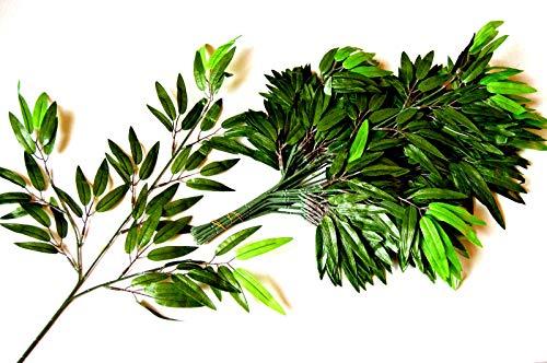 12 St.Bambuszweig BlätterKunstzweig künstlicher Bambus Zweig Kunstpflanzen R206