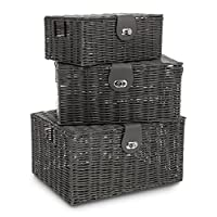 Fineway® Wicker Willow Storage Lined Basket Hamper Shopping Picnic with Handle Xmas Gift
