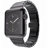 OKCS Armband - für Apple Watch 42 mm Series 1, Series 2, Series 3, Edition Edelstahl Butterfly Luxus Uhrenband Stainless Steel + Connector - Schwarz