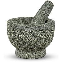 Relaxdays - Mortaio con pestello in granito, colore: Grigio naturale granito