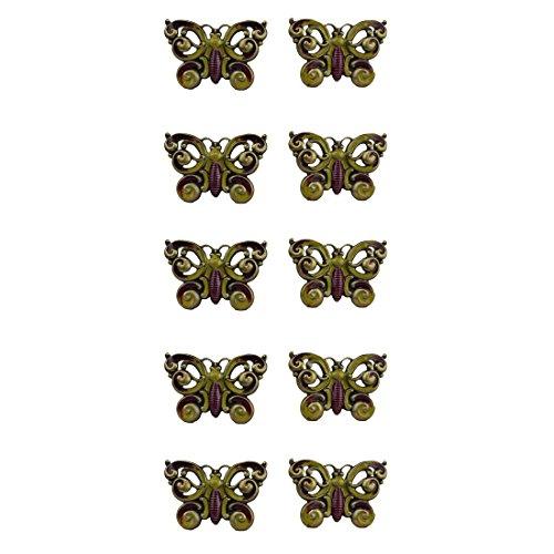 Primavera 50392 Türknäufe 10er-Pack Griffe Set, Heine, Tür- u. Schrank, Schmetterlinge, Vintage, Maße ca. 7x5 cm, die Schraube ca. 4 cm 10er-Pack - Heine Set