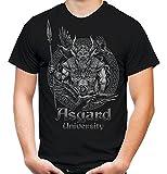 Asgard University Männer und Herren T-Shirt | Odin Wikinger Valhalla Geschenk | M1 Front (XXXL, Schwarz)