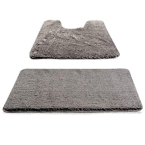 New Power Badematte Waschmaschinenfest Badezimmerteppiche für Dusche Wasserabsorbierend Weich aus Mikrofasern-Grau,50 x 80cm/U-45 x 49cm.