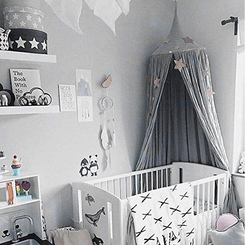 kybbe Kinder/Babys rund Dome Betthimmel, Baumwolle, aufhängen Moskitonetz, Vorhang, spielen und Lesen Zelt für Innen und Außenbereich, Bett/Schlafzimmer Dekoration, insektenabweisend grau